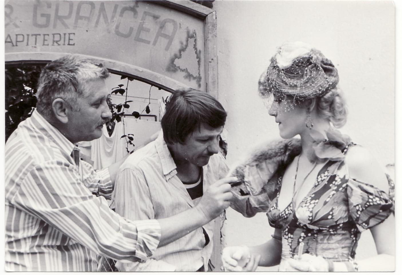 Corina Chiriac, zi de filmare pentru Roșcovanul, cu regizorul Francisc Munteanu și actorul Sebastian Papaiani