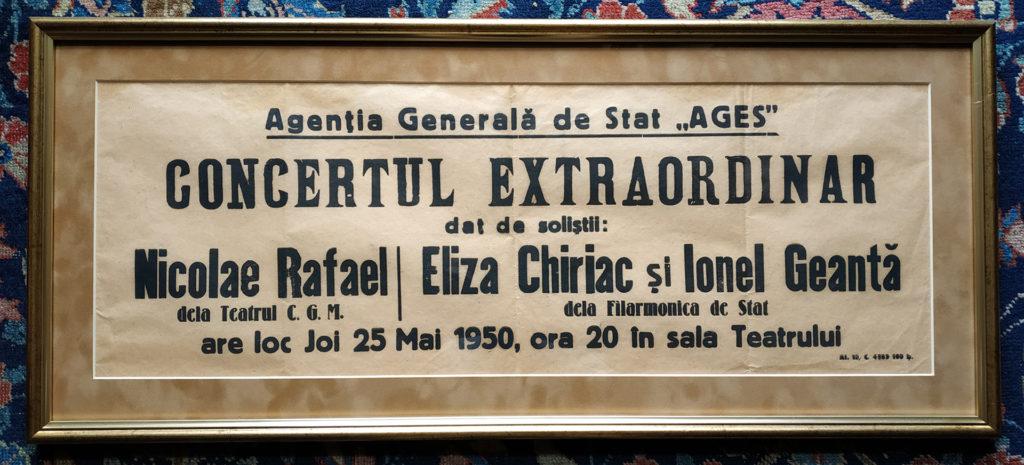 Afiș concert Elisabeta Chiriac, 1950