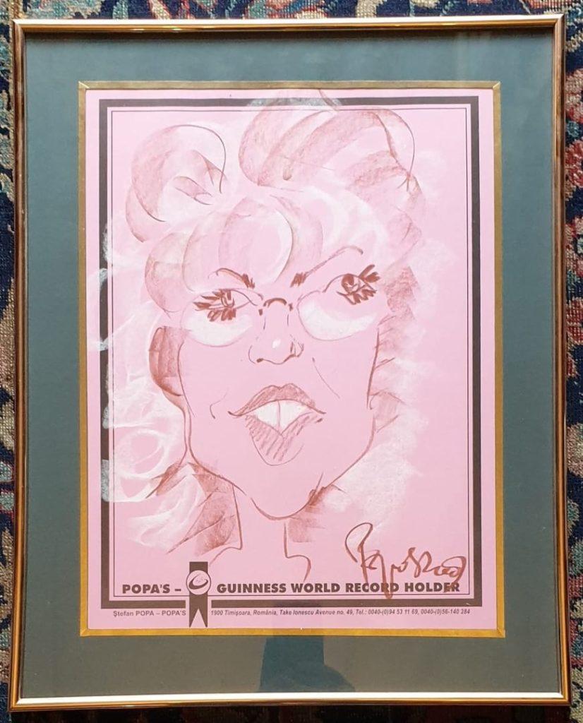 Caricatura a Corinei Chiriac realizata de maestrul Stefan Popa Popas