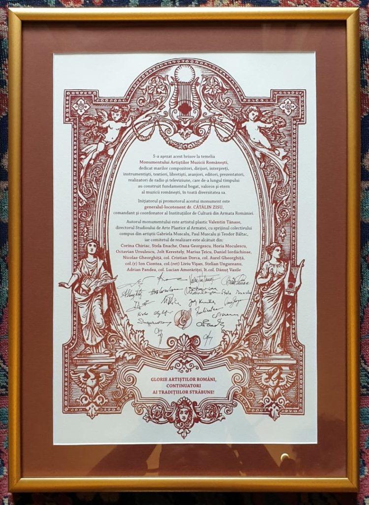 Documentul monumentului artistilor muzicii românești
