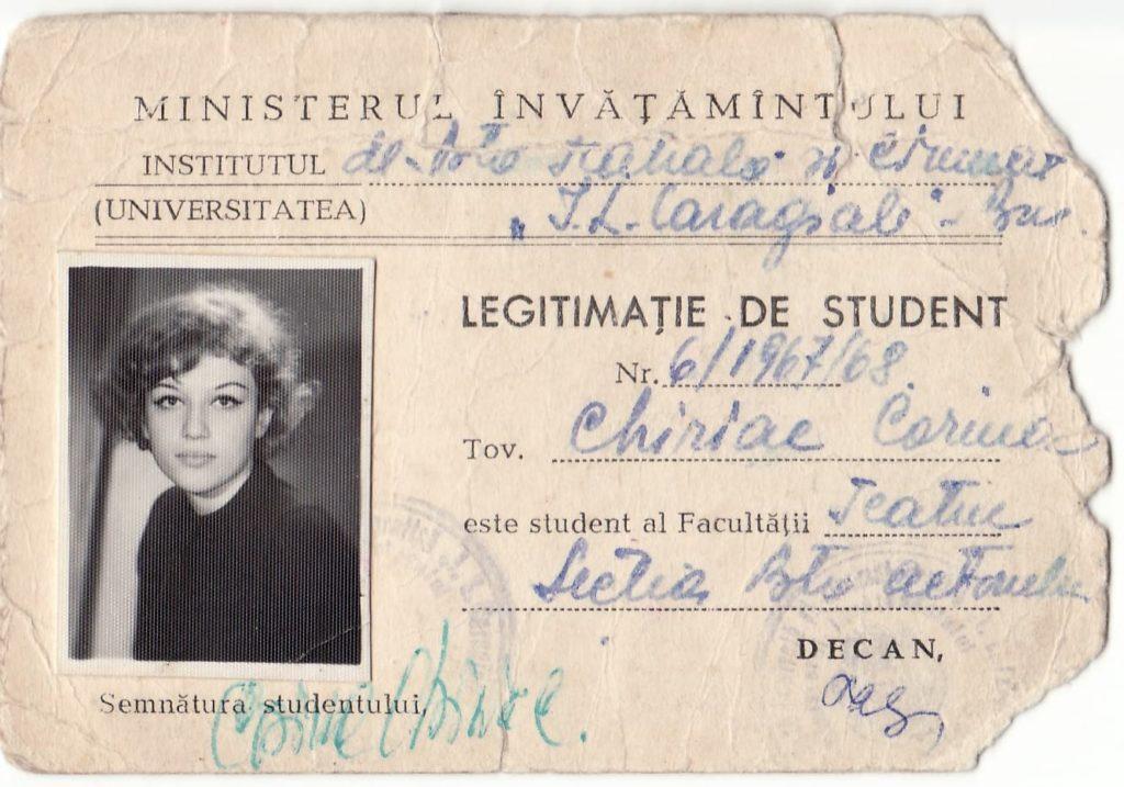 Legitimația de studentă a Corinei Chiriac (1968)