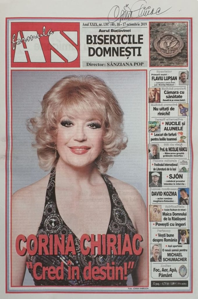 Corina Chiriac pe coperta publicatiei Formula AS din octombrie 2019