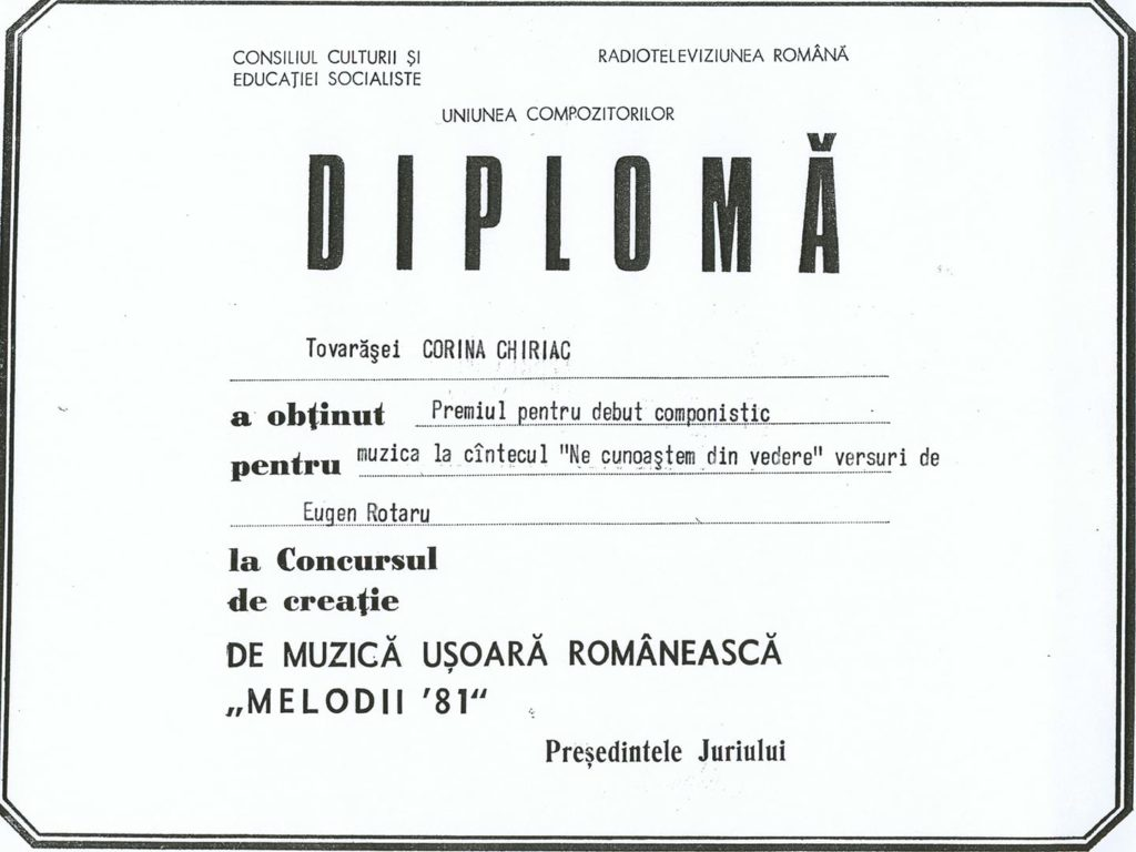 Premiul de debut componistic al Corinei Chiriac la Concursul de creație Melodii '81