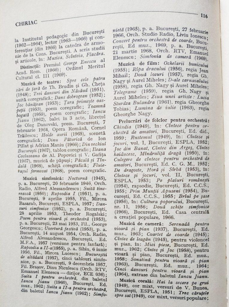 """Descrierea lui Mircea Chiriac din cartea """"Muzicieni români - lexicon"""" de Viorel Cosma (pag 1)"""