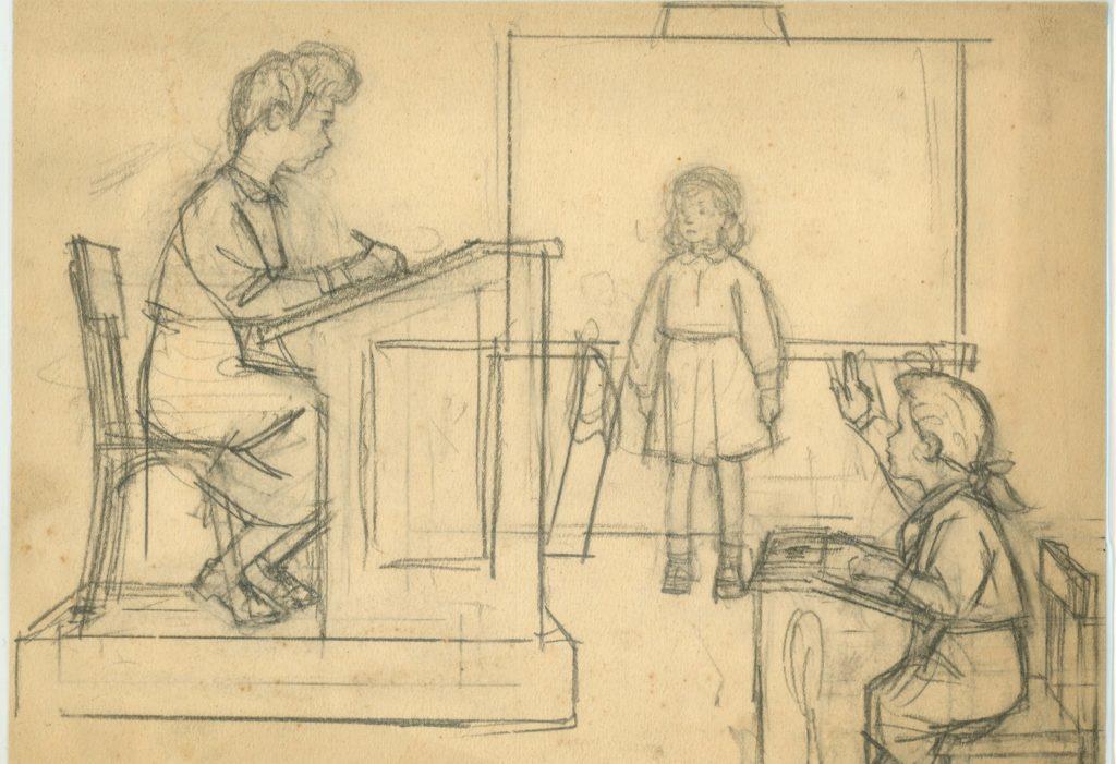 Desen realizat de compozitorul Mircea Chiriac când era elev